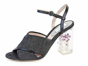 MAX MARA Women's Tebano Black Denim Block Heel Sandals $745 NIB