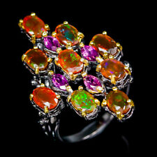 Fashion for women Natural Orange Opal 925 Sterling Silver Ring Size 7.5/R97491