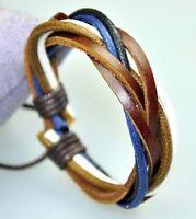 Cool Surfer Genuine Leather & Hemp Braided Bracelet Wristband Brown & Blue