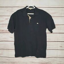 Burberry London Black Polo Shirt Made in Great Britain size Small Fits Medium