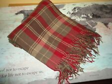 WOOLRICH RED & BROWN PLAID (1) THROW BLANKET 58 X 52 LODGE CABIN ACRYLIC