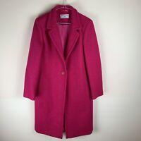 Helene Berman Fuschia Pink Wool Blend Slim Sollege Coat UK12 RRP£195