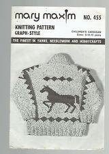 MARY MAXIM pattern #455 CHILDREN'S sweater horses. Sz 8 10 12 YRS