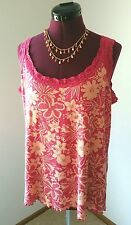 Basic Editions Womens Size 1X Pink & Peach Stretch Lace Tropical Flower Tank Top