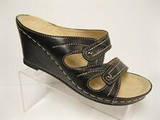 Patrizia Spring Step Black  Wedge Heel Strappy Slide Sandals  37 M     **NEW**