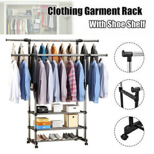UK Double Rail Adjustable Portable Clothes Display Hanger Rolling Rack On Wheels