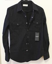 Saint Laurent Paris Rinsed Denim Western Shirt Size Small Brand New