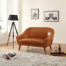 Mid Century Modern Bonded Leather Living Room Loveseat (Camel)