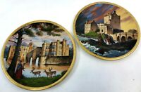 Vintage Pair 1991 Pickard Romantic Castles of Europe Leeds & Eileen Donan Plates