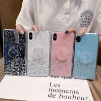 For iPhone 6 7 8 X XS Max XR Epoxy Bling Protective Case Cover with Up Holder