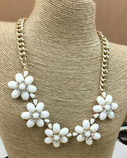 Calisa Designs Necklace Acrylic Opaque White & Crystal Rhinestone Flower Gold
