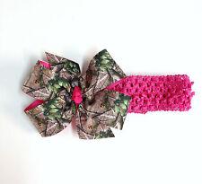 Hot Pink Mossy Oak Brown Green Camouflage Baby Headband Girls Camo Hair Bow