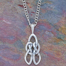 925 sterling silver CELTIC Irish Lovers Pendant Necklace with LOVE KNOT on back