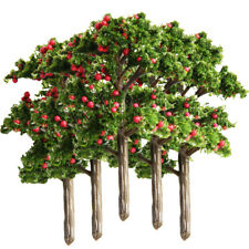 5x Model Fruit Trees for Train Landscape Diorama DIY Accessory Red