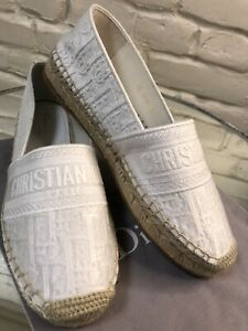 Christian Dior White Granville Oblique Embroidered Espadrille 39 Auth