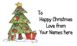 42 X Personalised Labels Stickers Gift Tags Presents  🎅 CHRISTMAS TREE #6