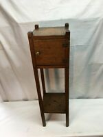 Antique Oak Wood Smoking Pipe Stand With Humidor Storage Area Plant Stand