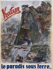 WAR PROPAGANDA WW2 KATYN POLISH OFFICER FRANCE VINTAGE ADVERTISING POSTER 2744PY