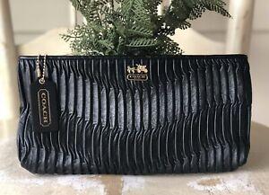 COACH 46914 Black Gathered Leather Clutch Wallet (No Wristlet Strap) MSRP $238