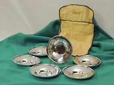 (6) HEAVY Antique STERLING SILVER Individual Nut Candy Bon-Bon Dishes 404 grams!