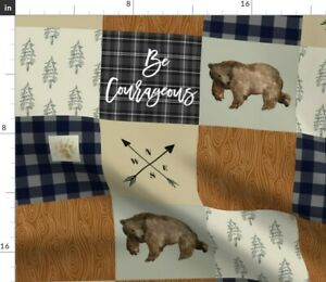 Courageous Wood Grain Brown Bear Navy Plaid Spoonflower Fabric by the Yard
