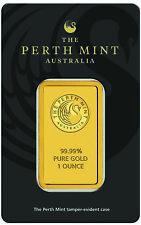 Perth Mint 1 Oz 9999 Fine Gold Bar In Ay