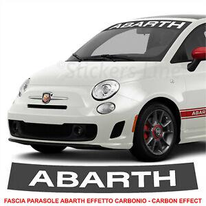 Fascia parasole Fiat 500 ABARTH fondo CARBONIO scritta Bianca adesivo parabrezza