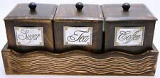 Wooden Handcrafted Canisters Set of 3 Tea Coffee Sugar With Lid Containers Set