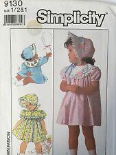 Simplicity 9130 Toddler Dress Appliqué Bonnet Hat 1/2 1 Pattern UncutVtg 1980s