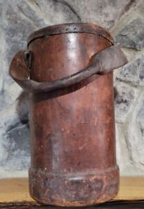 """Antique Leather Fire Bucket - Handle Still Attached - Very Rare - 14.5"""""""