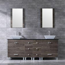 72'' Bathroom Ply Vanity Cabinet Top Ceramic Vessel Sink w/Faucet Drain Mirror