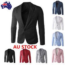 Mens Slim Fit Stylish One Button Suit Blazer Jackets Korean Style Business Coats