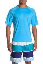 Beach Brothers Men's M Turquoise Blue Short Sleeve Rash Guard Swim Shirt UPF 50