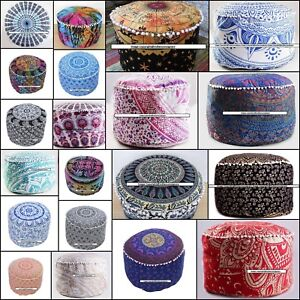 22''Inch Ottoman Round Foot Stool Chair Seat Cover Cotton Puff Home Decor Poufs