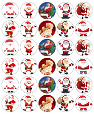 30 x Santa Claus Christmas Cupcake Toppers Edible Wafer Paper Fairy Cake Topper