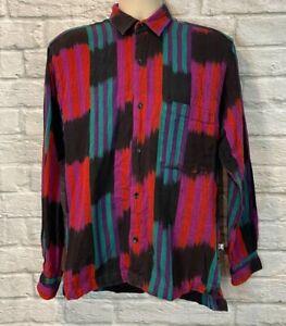 Rana Guatemalan Mens Colorful 100% Cotton Hand Woven Long Sleeve Shirt Sz Small