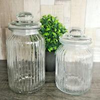 Set Of Ribbed Glass Storage Jars 990ml 1300ml Kitchen Tea Coffee Sugar Sweet Pot