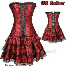 Fancy Burlesque Corset Dress Lace Up Overbust Red Black Plus Size Shaper Outfit