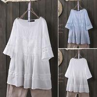 ZANZEA Womens Casual Loose Long Sleeve Cotton Shirt hollow Out Tunic Tops Blouse
