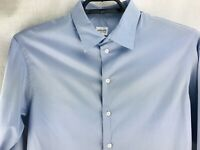 ARMANI COLLEZIONI Dress Shirt MENS L 16.5 / 42 Spread Collar Solid Medium Blue