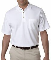 UltraClub Mens Classic Pique Cotton Polo Shirt with Pocket. 8534