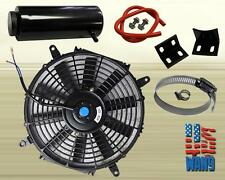 "7"" Slim/Thin 12V Push/Pull Electric Radiator Cooling Fan + Overflow Tank Black"
