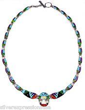 Real Multicolor Inlay 925 Sterling Silver Southwestern, Pueblo Style Necklace