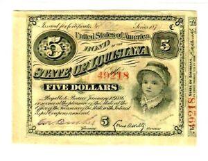 "$5 ""STATE OF LOUISIANA"" 1800'S (BABY BOND) $5 ""STATE OF LOUISIANA"" SUPER CRISPY!"