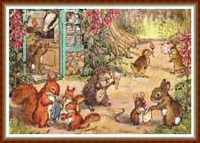 "'WOODLAND SWEET SHOP' Cross Stitch Chart (18""x12½"") Rabbit/Hedgehog/Detailed NEW"