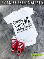 Personalised Coming Soon announcement baby grow vest bodysuit baby shower gift