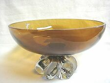 Stunning Piece RETRO AMBER GLASS BOLW w/CLEAR GLASS SWIRL PEDESTAL BASE