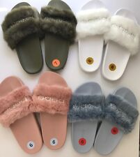 Bebe Womens Furiosa Faux Fur Slides Sandals New Pink Blue White Green Rhinestone