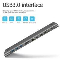 11 in 1 HUB 4K USB Type-C to USB 3.0 TF HDMI VGA RJ45 Mini DP 3.5MM Jack Adapter