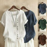 ZANZEA Women Ladies Cotton Linen Plain Tops Shirts Round Neck Button Down Blouse